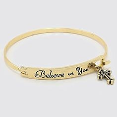 ✨LAST 1 ✨BEAUTIFUL BELIEVE IN YOU BRACELET ✨BEAUTIFUL ENGRAVED BELIEVE IN YOU BRACELET WITH CROSS CHARM✨ Jewelry Bracelets