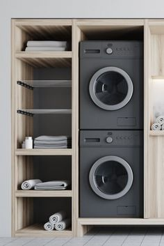 if washer goes on top, perhaps stacking is the best way to save space Modern Laundry Rooms, Laundry Room Layouts, Laundry Room Remodel, Farmhouse Laundry Room, Laundry Room Organization, Laundry In Bathroom, Utility Room Designs, Drying Room, Laundry Room Inspiration