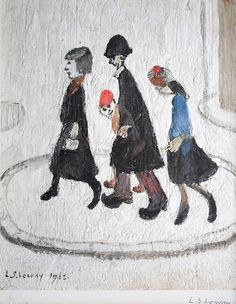Laurence Stephen Lowry - The Family, Offset. English Artists, Art Courses, Traditional Paintings, Naive Art, Art For Art Sake, Art Sketchbook, Fine Art Gallery, Contemporary Art, Illustration Art