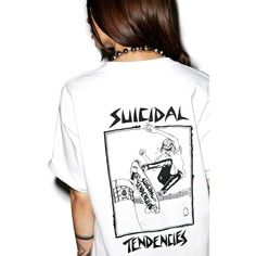 Suicidal Tendencies Skater Old School T-Shirt ($30) ❤ liked on Polyvore featuring tops, t-shirts, graphic design t shirts, logo t shirts, graphic tops, suicidal tendencies t shirt and white tee