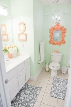 Mint & Coral Bathroom - Cute Decor for a girls bathroom Mint Green Bathrooms, Mint Bathroom, Bathroom Colors, Small Bathroom, Coral Bathroom Decor, Pastel Bathroom, Bathroom Designs, Bathroom Closet, Coral Bedroom