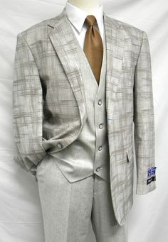 Martini Men's Blue Plaid Double Breasted Suit Sam IS Blu Martini 3 Piece Canon Vest Taupe Linen Blend Suit Fashion Moda, Look Fashion, Fashion Outfits, Sharp Dressed Man, Well Dressed Men, Dress Suits, Men Dress, Men's Suits, Designer Suits For Men