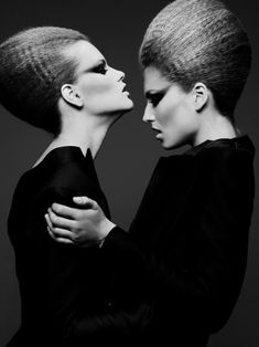 high fashion hair | fashion editorial | girls | crimp | make up | posing