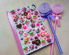 Decoden Notebook  Hand Decorated Pink Jotter Book by Scrappyness, £6.49
