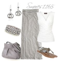 """""""Neutral Stripe Maxi"""" by smores1165 on Polyvore"""