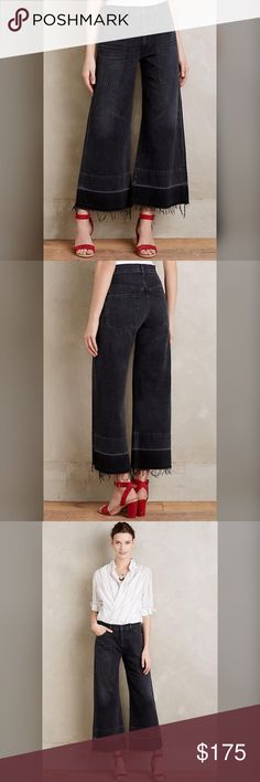 """⚡️Sale! Final price. Anthropologie cropped jeans Anthropologie COH Melanie crop size 29 NWT. A wide-leg pair updated with a cropped, let-out hem. Made in the USA by Citizens of Humanity.   Cotton Cropped wide-leg fit Frayed hem detail Front slant, back patch pockets Machine wash  Dimensions 23.5"""" inseam 11"""" high rise; 26"""" ankle                                             16"""" waist Anthropologie Jeans Flare & Wide Leg"""