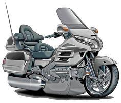 Honda Goldwing Silver Bike Digital Art