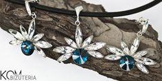 FLOWER v.2 Jewelry set - Silver and Swarovski from KOM Bizuteria by DaWanda.com