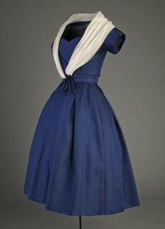 ~Cocktail dress, 1956~ ~From Christian Dior's spring 1956 collection entitled the 'Tulip' line, this garment was worn by dancer and choreographer Ruth Page (Mrs. Thomas Hart Fisher). (Photo by Chicago History Museum/Getty Images)~