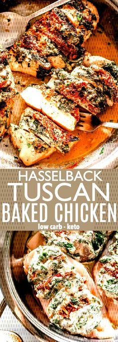 Hasselback Tuscan Baked Chicken Breasts - Diethood Hasselback Tuscan Baked Chicken Breasts - DELICIOUS baked chicken stuffed with a creamy mix of spinach, sun-dried tomatoes, and cream cheese makes for one amazing Low-carb and KETO friendly meal. Poulet Hasselback, Hasselback Chicken, Baked Chicken Recipes, Turkey Recipes, Sauce For Baked Chicken, Italian Baked Chicken, Turkey Dishes, Meat Recipes, Cake Recipes