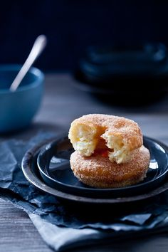 We made these for my 25th birthday! (not eating them right now though... going sugarless for a while)  PLS this blogger has more GF recipes & AMAZING photographs!   - Apple Cinnamon Doughnuts by tartelette, via Flickr