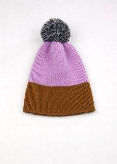 Color Block Rib Beanie  Lilac & Brown by WhiteLodgeKnitwear