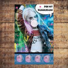 HARLEY QUINN PARTY Game! dc SuperHero Girls Birthday Party, Pin my bubblegum by TRUSTITI on Etsy