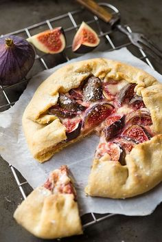 Fig galette with cream cheese and honey.