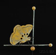 Copper Butterfly Weathervane, attributed to J.W. Fiske, New York, late 19th century