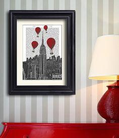 Empire State Building Print & Red Hot Air Balloon Print - Empire state building poster new york city new york skyline new york print décor