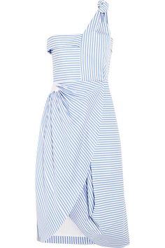 J.W.ANDERSON Asymmetric Striped Cotton-Poplin Dress. #j.w.anderson #cloth #dresses