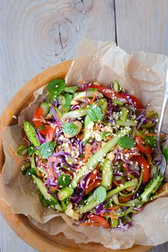 Asian Asparagus Slaw by scalingbackblog #Salad #Asian #Asparagus