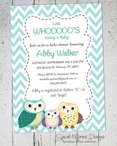 Owl Baby Shower Invitation  Printable and by SpecialMomentDesigns, $10.00