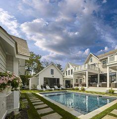 Amazing Backyard Asher Associate Architects Porches, Backyard Playhouse, Pool Backyard, Concrete Steps, Coastal Homes, Coastal Living, Luxury Interior Design, Pool Houses, In Ground Pools