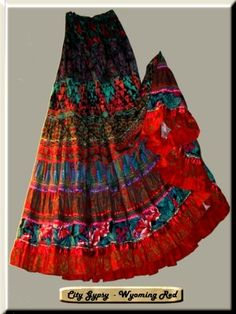Many gypsy skirts appear to use stripes of different coloured fabric in the skirt (just like the image).These stripes of colours and patterns inspires me to interpret into my own gypsy design.