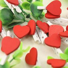 12 Unids Mini Amor Del Corazón Suministros de Oficina de Madera Clothespin Clips Craft DIY Papel Ropa Pinza de ropa Peg(China (Mainland))
