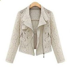 Lace Biker Jacket Autumn Full Lace Outwear Leisure Casual Short Jacket Metal Zipper Jacket