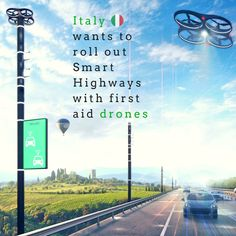 Self-driving cars and drones are transforming the world we live in  and designers are harnessing these new technologies to make transportation safer faster and more efficient. Carlo Ratti Associati teamed up with highway agency ANAS to design a new Smart Highway where drones deliver first aid and warn of hazardous road conditions up ahead. The Smart Highway program could be be implemented on more than 2500 kilometers of roads and highways in Italy. #renewable #city #Italy #drone #Masterplan…