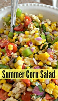 Easy Summer Corn Salad This fresh corn salad is bursting with delicious flavor and is the perfect, easy side dish for summer grilling!This fresh corn salad is bursting with delicious flavor and is the perfect, easy side dish for summer grilling! Corn Salad Recipes, Healthy Salad Recipes, Vegetarian Recipes, Cooking Recipes, Corn Salad Recipe Easy, Corn Salads, Fruit Salads, Salads For Bbq, Summer Salad Recipes