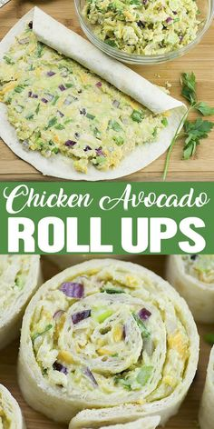 Chicken Avocado Salad Roll Ups are great appetizers for a party, healthy lunch for kids or light and easy dinner for whole family. Great way to pack some nutritious avocado into your diet.  #chicken #avocado #salad #healthysalad...
