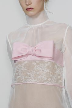 Valentino white sheer and pink bow top