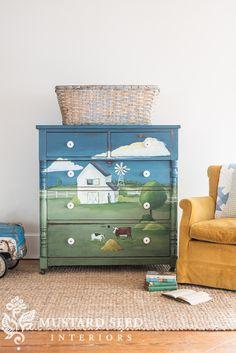 second landscape dresser reveal - Miss Mustard Seed Milk Paint Furniture, Hand Painted Furniture, Repurposed Furniture, Furniture Making, Diy Furniture, Wood Valance, Bunk Beds Built In, Miss Mustard Seeds, Artisanal