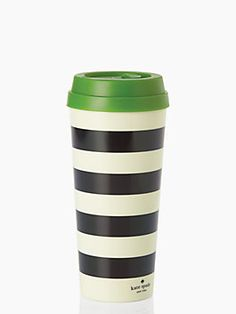 whether you fancy hot coffee, or iced green tea, take it to go in this thermal mug, accented with classic stripes in our favorite color combo of black and white. the BPA-, phthalate-, and lead-free interior means you can sip and savor safely.