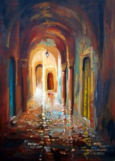 la medina mon amour - Peinture, 70x1 m ©2016 par nejib zneidi - Art figuratif, Impressionnisme, Toile, Villes, medina Tunis lumière