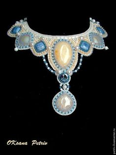 Beaded Beadwork Bead Embroidered necklace Summer. by ODesing, $285.00