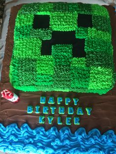 Minecraft Creeper Cake.  Note: 8 candles lit all together is like TNT! Kids thought it was great!