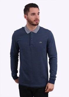 7d94adb13d50 Lacoste Long Sleeve Fine Stripe Polo Shirt - Blue Striped Polo Shirt