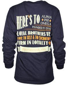 Customizable Alpha Phi Omega Loyalty Long Sleeve design by Adam Block Design. Your source for creative apparel designs! Alpha Phi, Alpha Tau Omega, Sleeve Designs, Shirt Designs, Rush Week, Delta Chi, Greek Shirts, Custom Greek Apparel, Sorority Outfits
