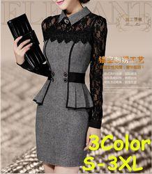 Online Shop WAQIA new 2014 long-sleeved women winter dress temperament Slim waist thin lace office dress package hip bottoming elsa dress Aliexpress Mobile
