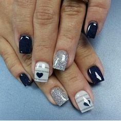 Cute and minimalist glitter nail art design consisting of matte glitter nails in silver and stripes on top of gray and midnight blue polishes. nail designs nail designs for short nails nail stickers walmart nail appliques best nail wraps 2019 Heart Nail Art, Heart Nails, My Nails, Heart Nail Designs, Best Nail Art Designs, Nail Designs With Hearts, Navy Blue Nail Designs, Fingernail Designs, Awesome Designs
