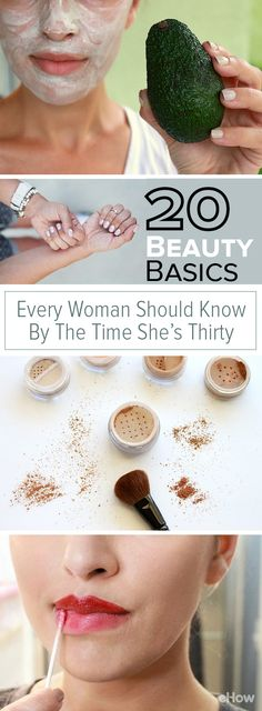 Seriously awesome tips every woman should know! From choosing the right bronzer and blush for your skin tone to how to heal a blemish (the right way!) to the perfect all-natural moisturizing masks. This is a must-read! http://www.ehow.com/how_12341057_beauty-basics-woman-should-time-shes-30.html?utm_source=pinterest.com&utm_medium=referral&utm_content=curated&utm_campaign=fanpage