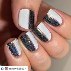 Look at those sparkles! Thanks for including us!! #Repost @mrswhite8907 with @repostapp. ・・・ About 5 months ago, I decided to do a holo topcoat comparison. I have more than 5, but I only compared 5. What I determined in this comparison test: 1. Holo didn't really work on top of white very well 2. All the holo is awesome, and I couldn't choose a favorite lol  I used: @justricarda Whiteout @wetnwildbeauty Black creme @liquidskylacquer Holo Topcoat (pinky) @ninezerolacquer Holo All The Things