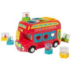 L'enfant encastre les 6 formes hochets dans le toit puis ouvre la porte arrière du bus pour les récupérer et recommencer. Chaque forme, de couleur différente, contient un grelot, ou un miroir. L'enfant affine ses gestes, découvre des couleurs et des sons, et fait avancer son bus rouge.