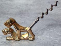 Vintage Art Deco Brass Terrier Dogs Corkscrew - 1930s