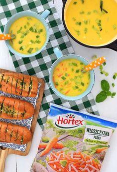 Zupa serowa ze szczypiorkiem i bazylią z bagietką czosnkowo-ziołową Cheddar, Cheeseburger Chowder, Cantaloupe, Food And Drink, Low Carb, Favorite Recipes, Dishes, Fruit, Kitchen