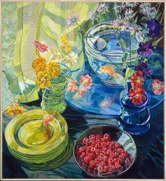 Janet Fish, Raspberries and Goldfish, 1981   watercolor; loved her work when I was in high school (+20 years ago).