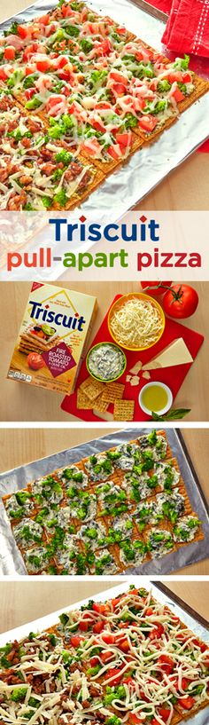 The Triscuit Pull-Apart Pizza boasts great flavor with fresh veggies and savory Italian sausage! Heat oven to 400°F & arrange crackers on a baking sheet to form a rectangle. Spread on spinach dip and broccoli, then cover half with tomatoes and mozzarella and half with sausage and Parmesan. Bake for 10 min and finish off by sprinkling basil over the tomato half and a drizzle of oil over the sausage half. Serve warm to your hungry guests, they'll love this this melt-in-your-mouth bite of pizza...