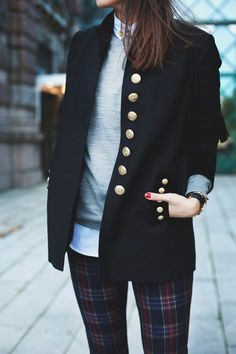 Pair plaid pants with neutral colors and a structured blazer