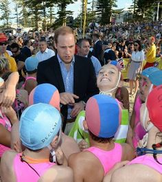 Say cheese! A young lifesaver couldn't help flashing a cheeky grin at the camera as Prince William imparted his wisdom to the group on Manly Beach New Zealand Tours, Visit New Zealand, Princess Kate, Princess Charlotte, Duchess Kate, Duke And Duchess, Cheeky Grin, Sydney Beaches, Manly Beach
