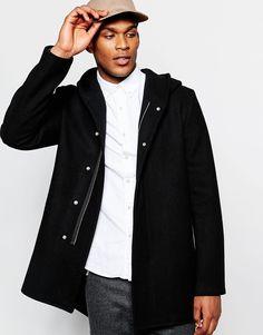 ASOS+Hooded+Wool+Rich+Coat+In+Black